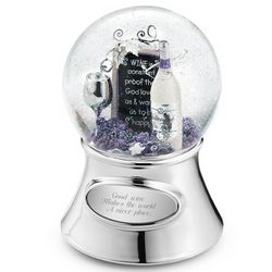 Wine Theme Musical Snow Globe