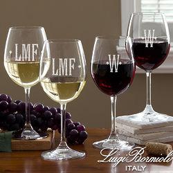 Engraved Monogram Wine Glasses