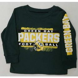 Toddler's Green Bay Packers Football Long Sleeve T-Shirt