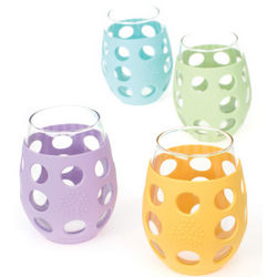 Silicone Sleeved Stemless Wine Glasses