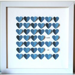 Baby Boy's Personalized Blue Hearts Heart Shadow Box