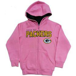 Girl's Green Bay Packers Full Zip Hoodie in Pink