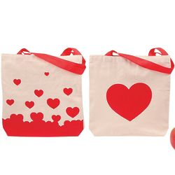 "12 Red Heart Printed 10"" Canvas Tote Bags"