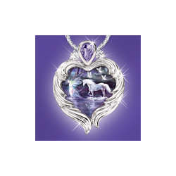 Twilight Enchantment Unicorn and Fairy Fantasy Pendant Necklace