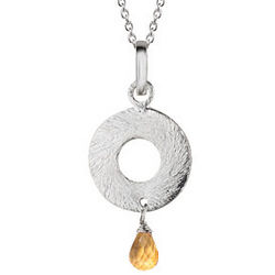 0.75 Ct Citrine Briolette Pendant in Sterling Silver