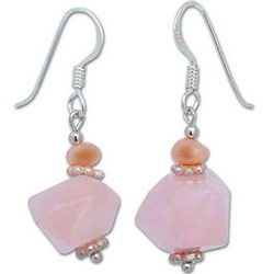 Strawberry Cloud Rose Quartz and Pearl Earrings