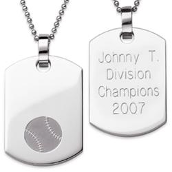 Stainless Steel Engraved Baseball Dog Tag Pendant