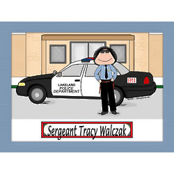 Personalized Police Car Cartoon Matted Print