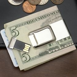Bytes to Spare Silver Money Clip with Flash Drive