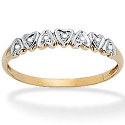 Tutone 10k Gold Diamond Accent Multi-Heart Band Ring