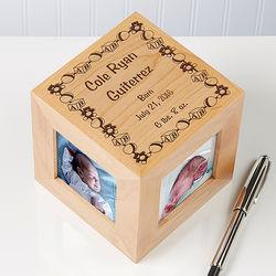 Personalized Newborn Toyland Wood Photo Cube