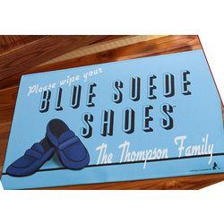 Elvis Blue Suede Shoes Personalized Doormat