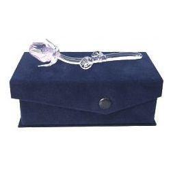Petite Crystal Pink Rose in Velvet Box