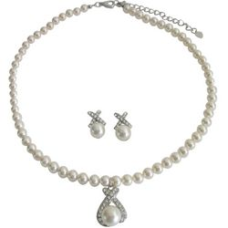 Sophisticated Swarovski Ivory Pearls Earrings and Necklace Set