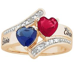 Personalized Couple's Birthstone Hearts Diamond Name Ring