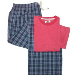 Big & Tall Solid Top and Plaid Pant Pajamas