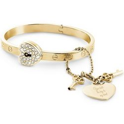 Gold Lock and Key Bangle Bracelet