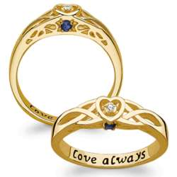 Gold Over Sterling Couples Birthstone and Diamond Heart Ring