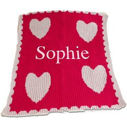Stroller Blanket with Name, Hearts, and Scalloped Edge