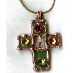 Handcrafted Cross Necklace in Green