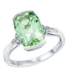 White Gold Cushion Cut Green Amethyst Ring with Diamond Accent