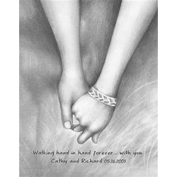 Walking Hand in Hand Forever Personalized Print