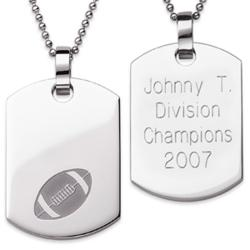 Stainless Steel Engraved Football Dog Tag Pendant