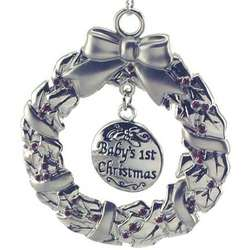 Engraved Baby's First Christmas Wreath Ornament