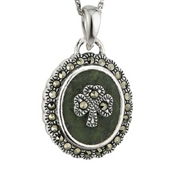 Sterling Silver Marcasite Shamrock Marble Necklace