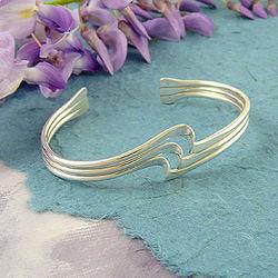 Sterling Silver Ripple Cuff Bracelet