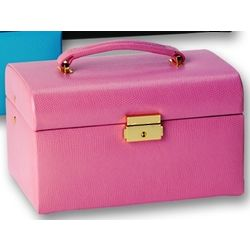 Pink Leather Travel Jewelry Box
