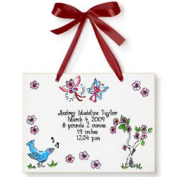 Personalized Cherry Blossom Birth Announcement