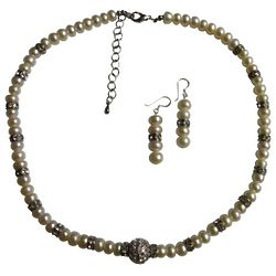 Alternating Pearls & Rondells Bridal Necklace and Earrings