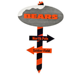 Chicago Bears North Pole Wood Sign