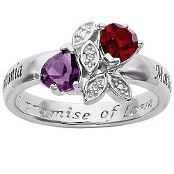 Personalized Couple's Name and Birthstone Hearts Promise Ring
