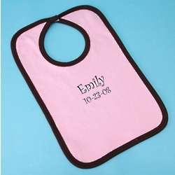 Pink Cotton Ringer Baby Bib