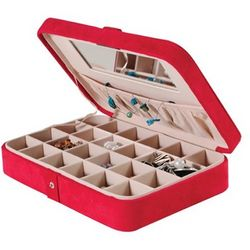 Red Suede Earring Case with 24 Compartments