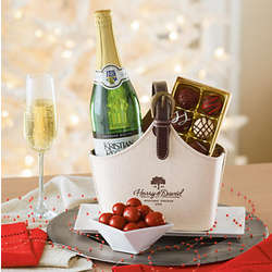 Pear Sparkler and Truffles Hostess Gift Basket