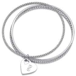Silvertone Engraved Initial Slip-On 3-Bangle Bracelet