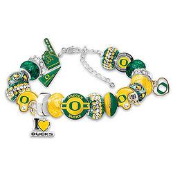 Oregon Ducks Football Fan Crystal Charm Bracelet