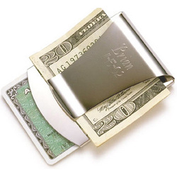 Silver Money Clip and Credit Card Holder
