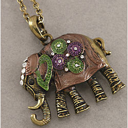 Inspirational Elephant Oxidized Brass Necklace