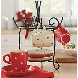 Polka Dot Espresso Set & Rack