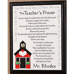 Personalized Teacher's Prayer Schoolhouse Wall Plaque