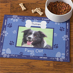 Personalized Throw Me a Bone Blue Dog Bowl Mat