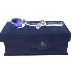 Petite Crystal Blue Rose in Velvet Box