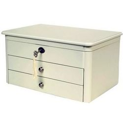 Locking White Wood Jewelry Box with Automatic Tray