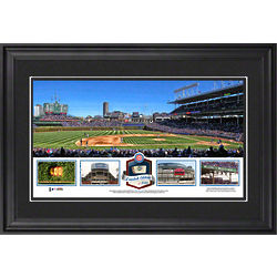 Chicago Cubs Framed Panoramic Print with Game-Used Ball