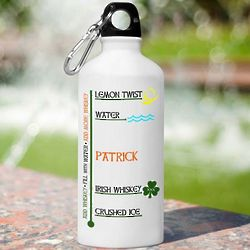 Personalized Irish Whiskey Water Bottle