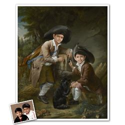 Classic Painting 2 Little Boys Personalized Art Print
